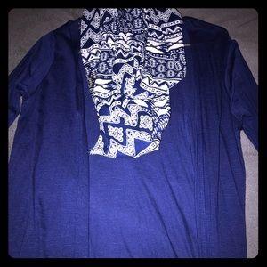 Blue medium cardigan with printed scarf